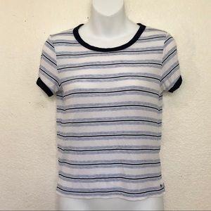 American Eagle Blue Stripe Ringer Tshirt